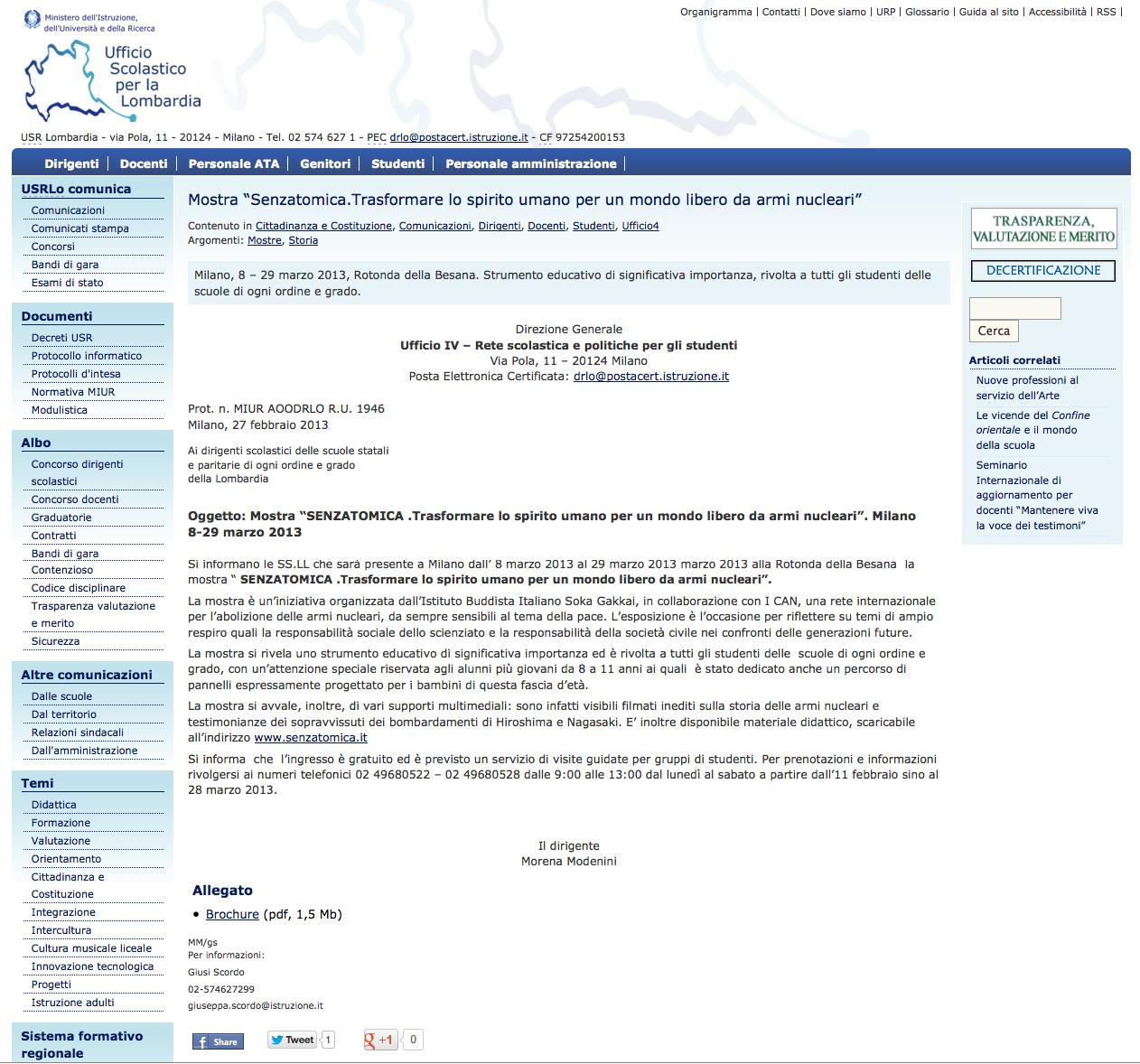 2013-03-03 M.I.U.R. | Ufficio Scolastico Regionale per la Lombardia